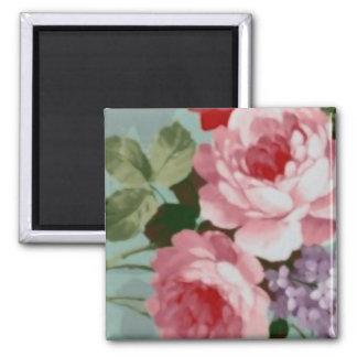 Vintage Elegant Pink Red Roses Square Magnet