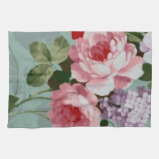 Vintage Elegant Pink Red Roses Kitchen Towel