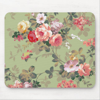 Vintage Elegant Pink Red Yellow Roses Pattern Mouse Mat