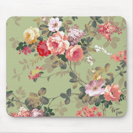 Vintage Elegant Pink Red Yellow Roses Pattern Mouse Pads