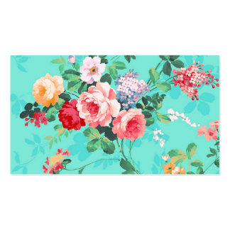 Vintage Elegant Pink Red Yellow Roses Pattern Pack Of Standard Business Cards