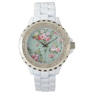 Vintage Elegant Pink Red Yellow Roses Pattern Wrist Watches