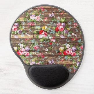 Vintage Elegant Pink Roses Brown Wood Photo Print Gel Mouse Mat