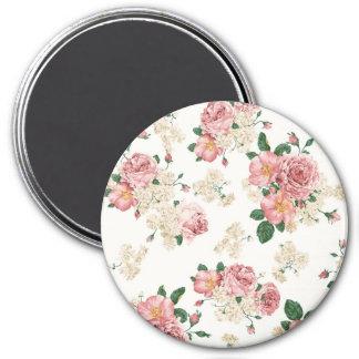 Vintage Elegant Pink Roses Pattern Magnet