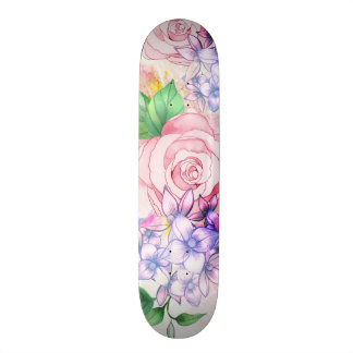 Vintage elegant pink watercolor trendy flowers skateboard