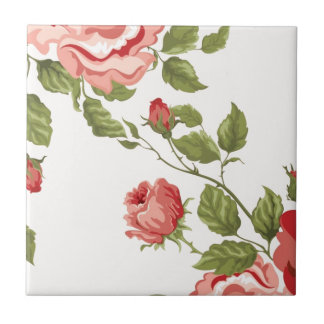 Vintage Elegant Pretty Pink Red Roses Pattern Small Square Tile