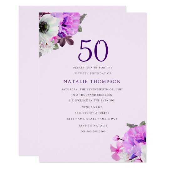 Vintage Elegant Purple Flower 50th Birthday Invite