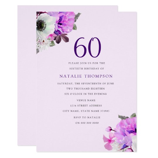 Vintage Elegant Purple Flower 60th Birthday Invite