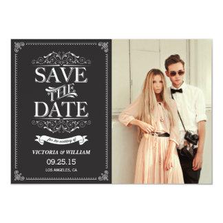 Vintage Elegant Save the Date Announcement - Black