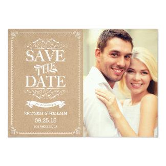 Vintage Elegant Save the Date Announcement - Kraft