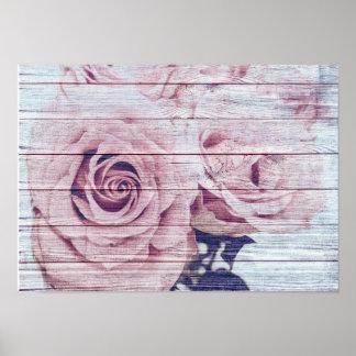 Vintage Elegant  Shabby Chic Dusky Pink Roses Poster