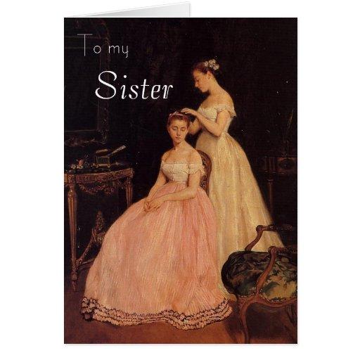 Vintage Elegant Sister Birthday Card