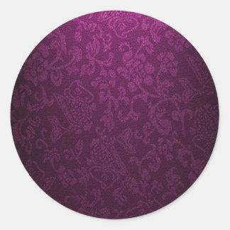 vintage elegant  velvet lavender victorian pattern round sticker