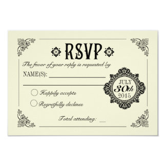 Vintage Elegant Wedding Invitation RSVP