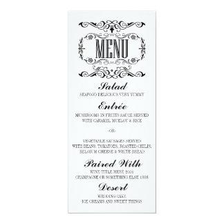 Vintage elegant wedding menu cards 10 cm x 24 cm invitation card