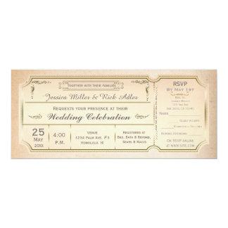 "Vintage Elegant Wedding Ticket Invitation w/ RSVP 4"" X 9.25"" Invitation Card"
