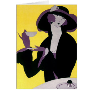 Vintage Elegant Woman Drinking Afternoon Tea Party Cards