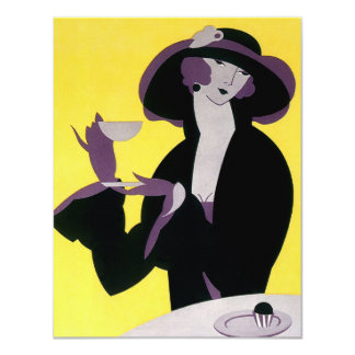 Vintage Elegant Woman Drinking Afternoon Tea Party Invitations