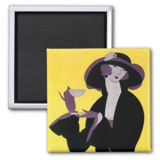 Vintage Elegant Woman Drinking Afternoon Tea Party Magnet