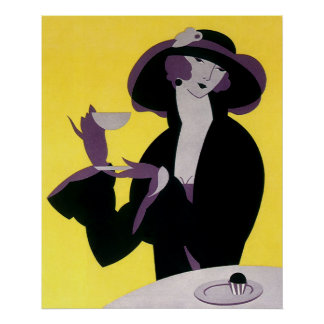 Vintage Elegant Woman Drinking Afternoon Tea Party Poster