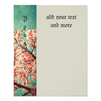 Vintage elegant worn teal wood & cherry blossom flyers