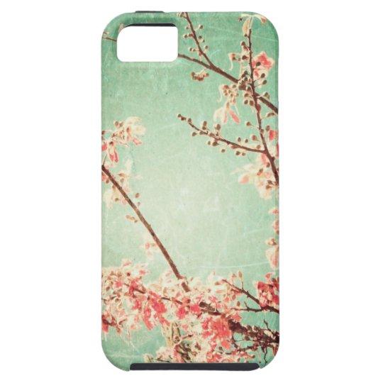 Vintage elegant worn teal wood & cherry blossom iPhone 5 cases