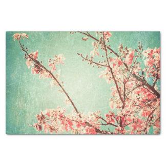 Vintage elegant worn teal wood & cherry blossom tissue paper