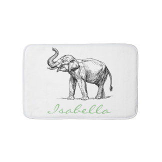 Vintage elephant add your name text elephants bath mats
