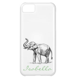Vintage elephant add your name text elephants iPhone 5C case