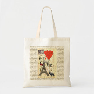 Vintage elephant and red heart balloons tote bags