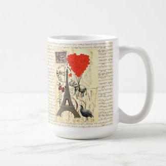 Vintage elephant and red heart balloons basic white mug