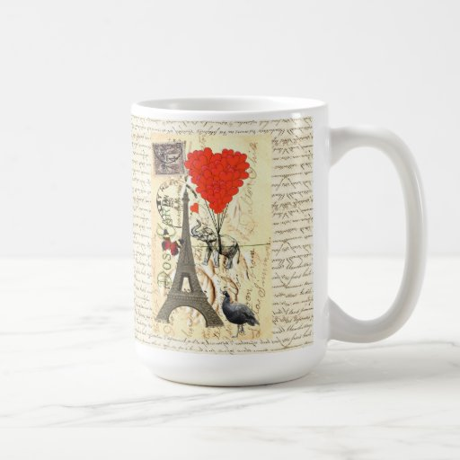 Vintage elephant and red heart balloons coffee mugs