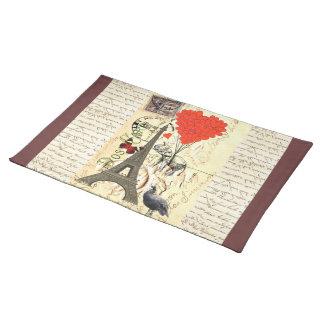 Vintage elephant and red heart balloons placemat