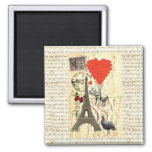 Vintage elephant and red heart balloons square magnet