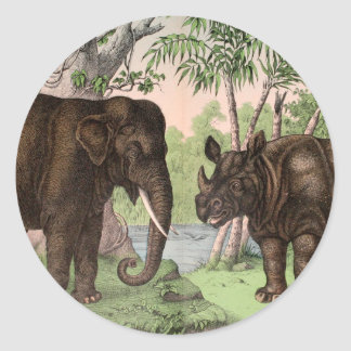 Vintage Elephant and Rhino Classic Round Sticker