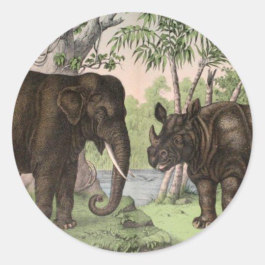 Vintage Elephant and Rhino Classic Round Sticker