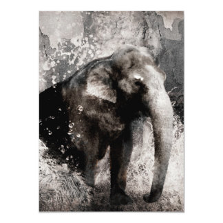 Vintage Elephant Drawing - Chinese Painting Art 11 Cm X 16 Cm Invitation Card