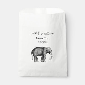 Vintage Elephant Drawing Favour Bags