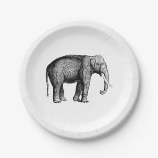 Vintage Elephant Drawing Paper Plate