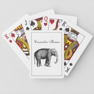 Vintage Elephant Drawing Playing Cards