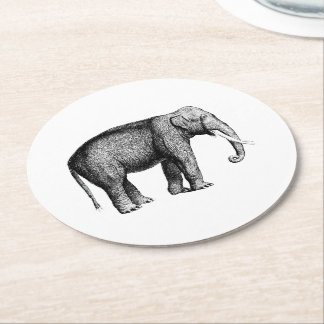 Vintage Elephant Drawing Round Paper Coaster