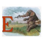 Vintage elephant fisherman fishing postcard