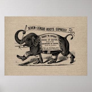Vintage elephant graphic Victorian ad burlap linen Poster