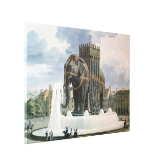 Vintage Elephant of The Bastille Illustration Canvas Print