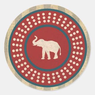 Vintage Elephant - Van Classic Round Sticker