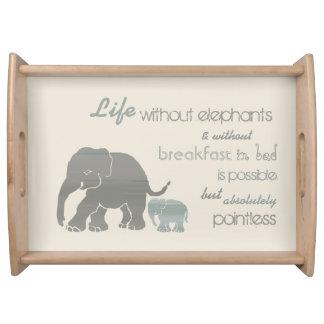 Vintage Elephants Breakfast in Bed Funny Serving Tray