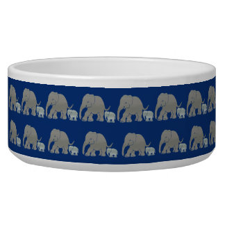 Vintage Elephants with Baby Parading on Night Blue