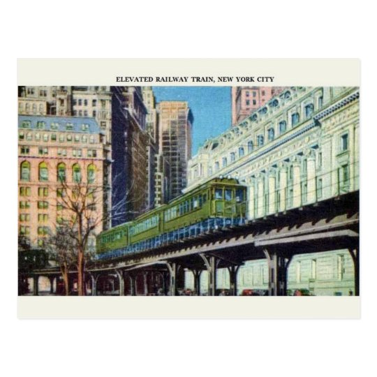 Vintage Elevated Train New York City Postcard