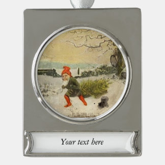 Vintage Elf Bringing Home the Christmas Tree Silver Plated Banner Ornament