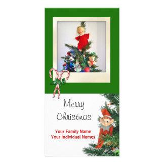 Vintage Elf Green Customized Photo Card